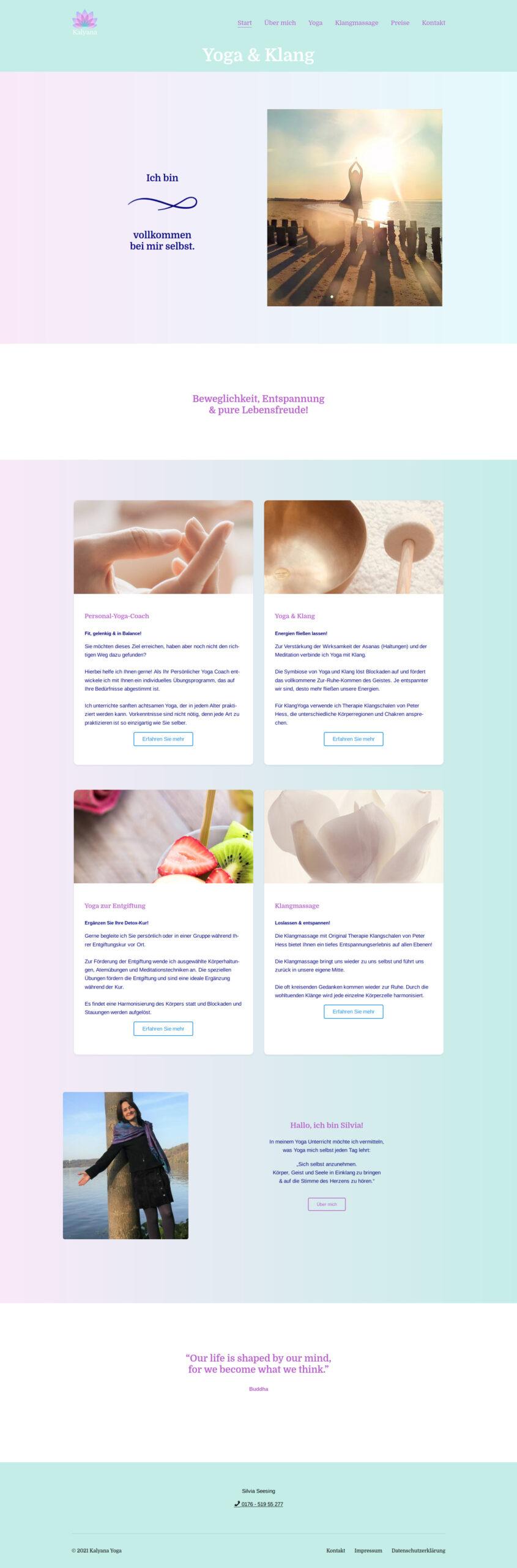 Homepage für Kalyana Yoga